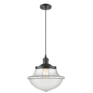 Franklin Restoration Oil Rubbed Bronze 12-Inch LED Pendant with Clear Large Oxford Shade and Black Textured Cord