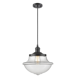 Oxford School House Oiled Rubbed Bronze 12-Inch One-Light Pendant with Clear Bell Glass