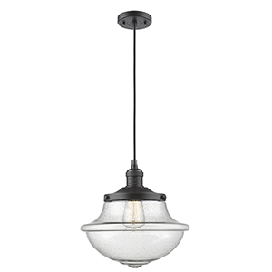 Oxford School House Oiled Rubbed Bronze 12-Inch LED Pendant with Seedy Bell Glass