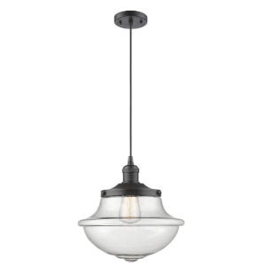 Franklin Restoration Oil Rubbed Bronze 12-Inch One-Light Pendant with Seedy Large Oxford Shade and Black Textured Cord