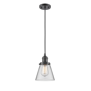 Small Cone Oiled Rubbed Bronze Six-Inch LED Mini Pendant with Clear Cone Glass and Black Cord
