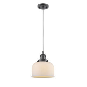 Large Bell Oiled Rubbed Bronze Eight-Inch LED Mini Pendant with Matte White Cased Dome Glass and Black Cord