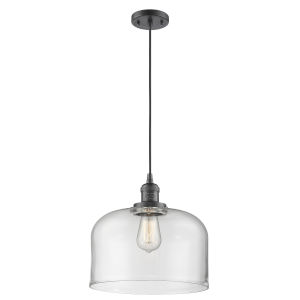 X-Large Bell Oil Rubbed Bronze One-Light Pendant with Clear Glass