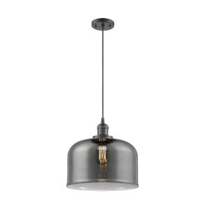 X-Large Bell Oil Rubbed Bronze One-Light Pendant with Smoked Glass