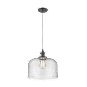 X-Large Bell Oil Rubbed Bronze One-Light Pendant with Seedy Glass