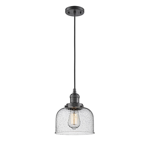 Large Bell Oiled Rubbed Bronze Eight-Inch LED Mini Pendant with Seedy Dome Glass and Black Cord
