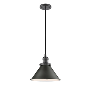 Briarcliff Oiled Rubbed Bronze 10-Inch One-Light Pendant with Oil Rubbed Bronze Metal Shade and Black Cord