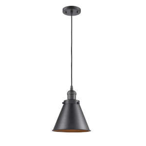 Franklin Restoration Oil Rubbed Bronze One-Light Mini Pendant with Appalachian Oil Rubbed Bronze Metal Shade and Black