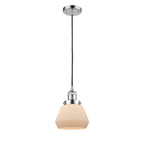 Fulton Polished Chrome 60W One-Light Mini Pendant with Matte White Cased Glass