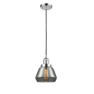 Fulton Polished Chrome One-Light Mini Pendant with Smoked Glass