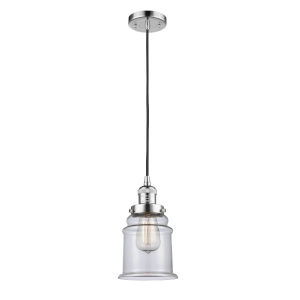 Franklin Restoration Polished Chrome Six-Inch LED Mini Pendant with Clear Canton Shade and Black Textured Cord