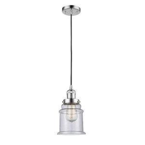 Franklin Restoration Polished Chrome Six-Inch LED Mini Pendant with Seedy Canton Shade and Black Textured Cord