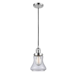Franklin Restoration Polished Chrome Six-Inch LED Mini Pendant with Clear Bellmont Shade and Black Textured Cord