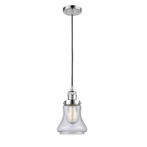 Franklin Restoration Polished Chrome Six-Inch LED Mini Pendant with Seedy Bellmont Shade and Black Textured Cord