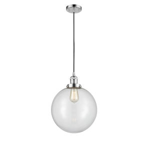 Franklin Restoration Polished Chrome 12-Inch LED Pendant with Clear Beacon Shade and Black Textured Cord