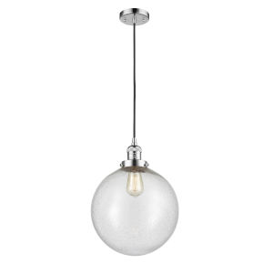 Franklin Restoration Polished Chrome 12-Inch LED Pendant with Seedy Beacon Shade and Black Textured Cord