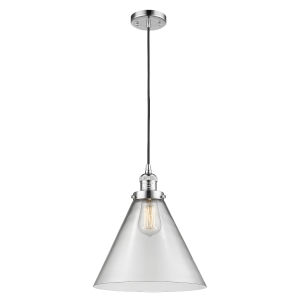 X-Large Cone Polished Chrome One-Light Pendant with Clear Glass