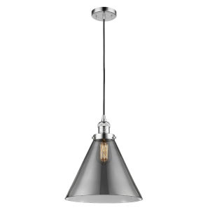 X-Large Cone Polished Chrome One-Light Pendant with Smoked Glass