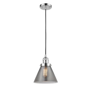 Franklin Restoration Polished Chrome Eight-Inch LED Mini Pendant with Plated Smoke Glass Shade