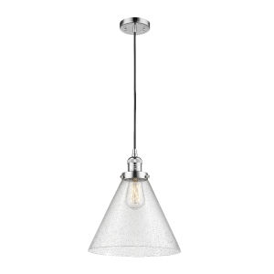 X-Large Cone Polished Chrome One-Light Pendant with Seedy Glass