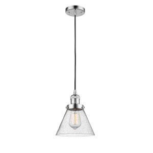 Franklin Restoration Polished Chrome Eight-Inch LED Mini Pendant with Seedy Large Cone Shade and Black Textured Cord