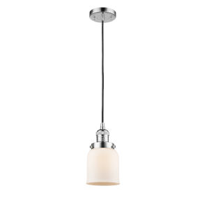 Small Bell Polished Chrome 60W One-Light Mini Pendant with Matte White Cased Glass