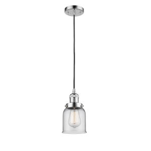 Small Bell Polished Chrome One-Light Mini Pendant with Clear Glass