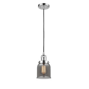Small Bell Polished Chrome One-Light Mini Pendant with Smoked Glass
