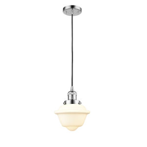 Small Oxford Polished Chrome 60W One-Light Mini Pendant with Matte White Cased Glass