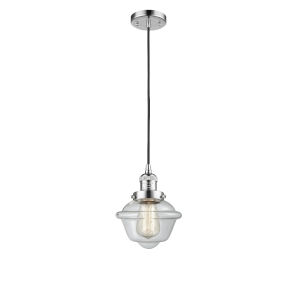 Small Oxford Polished Chrome One-Light Mini Pendant with Clear Glass