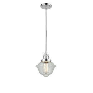 Small Oxford Polished Chrome One-Light Mini Pendant with Seedy Glass