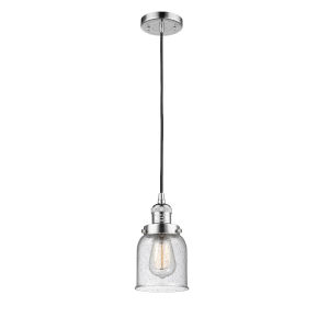 Small Bell Polished Chrome One-Light Mini Pendant with Seedy Glass