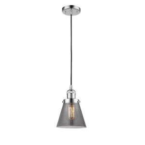 Franklin Restoration Polished Chrome Six-Inch LED Mini Pendant with Plated Smoke Glass Shade