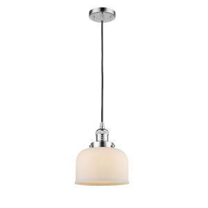 Large Bell Polished Chrome 60W One-Light Mini Pendant with Matte White Cased Glass