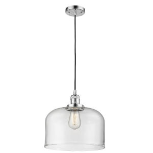 X-Large Bell Polished Chrome One-Light Pendant with Clear Glass