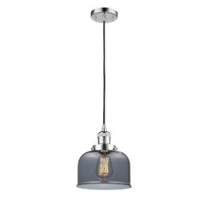 Large Bell Polished Chrome One-Light Mini Pendant with Smoked Glass