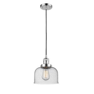 Large Bell Polished Chrome One-Light Mini Pendant with Seedy Glass