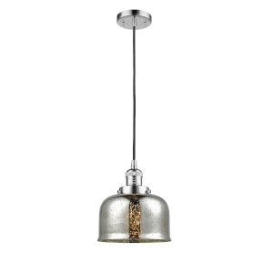 Large Bell Polished Chrome One-Light Mini Pendant with Silver Plated Mercury Glass