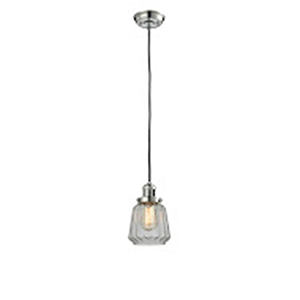 Chatham Polished Nickel Six-Inch LED Mini Pendant with Clear Fluted Novelty Glass and Black Cord