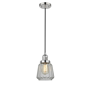 Chatham Polished Nickel Six-Inch One-Light Mini Pendant with Clear Fluted Novelty Glass and Black Cord