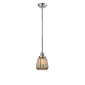Chatham Polished Nickel Six-Inch LED Mini Pendant with Mercury Fluted Novelty Glass and Black Cord
