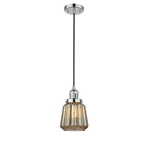 Chatham Polished Nickel Six-Inch One-Light Mini Pendant with Mercury Fluted Novelty Glass and Black Cord