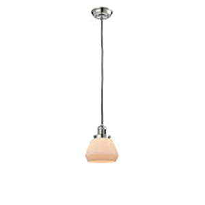 Fulton Polished Nickel Seven-Inch LED Mini Pendant with Matte White Cased Sphere Glass and Black Cord