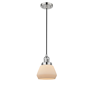 Fulton Polished Nickel Seven-Inch One-Light Mini Pendant with Matte White Cased Sphere Glass and Black Cord