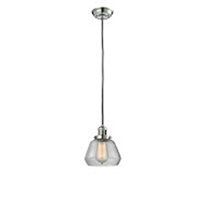 Fulton Polished Nickel Seven-Inch LED Mini Pendant with Clear Sphere Glass and Black Cord