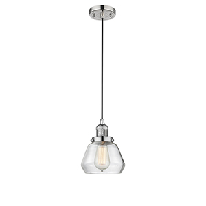 Fulton Polished Nickel Seven-Inch One-Light Mini Pendant with Clear Sphere Glass and Black Cord