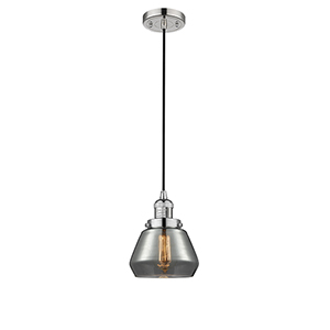 Fulton Polished Nickel Seven-Inch One-Light Mini Pendant with Smoked Sphere Glass and Black Cord