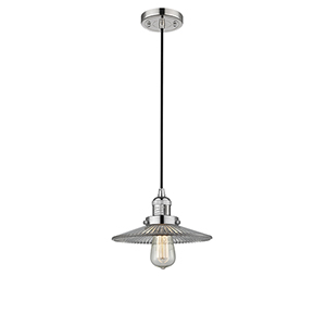 Halophane Polished Nickel Nine-Inch One-Light Mini Pendant with Halophane Cone Glass and Black Cord