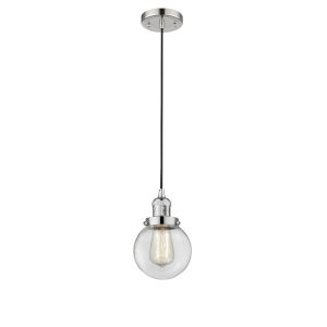 Beacon Polished Nickel One-Light Mini Pendant with Clear Glass