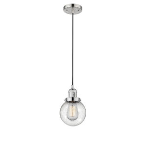 Beacon Polished Nickel One-Light Mini Pendant with Seedy Glass